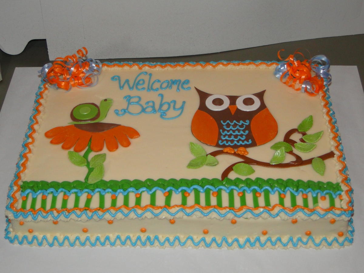 owl and snail baby shower sheet cake
