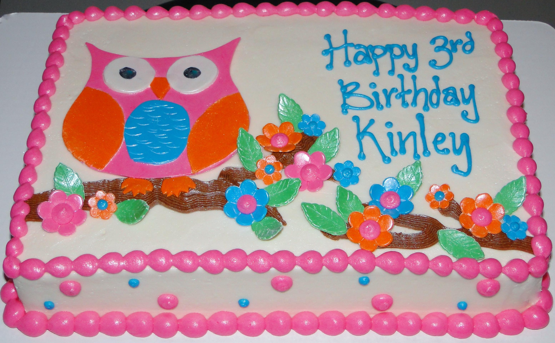Owl Sheet Cake Kitty edible cake toppers